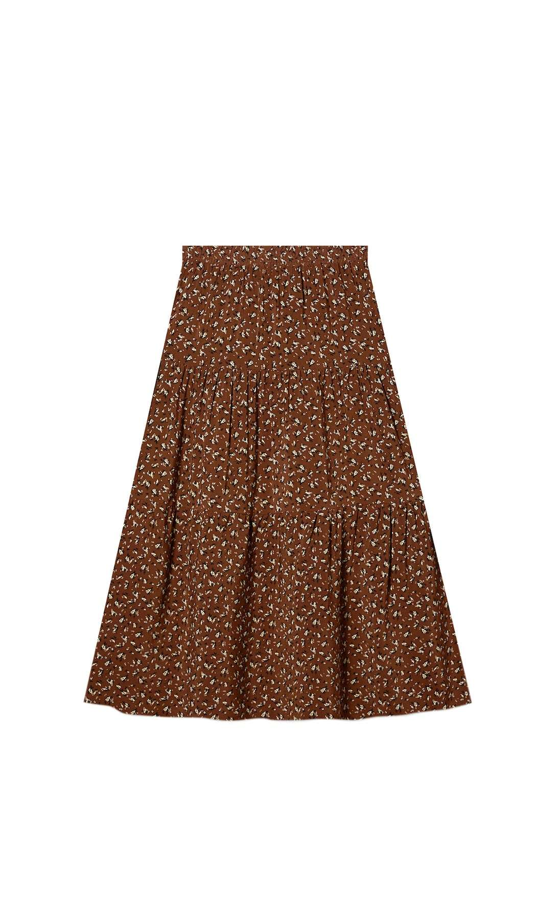 Falda marrón estampado floral