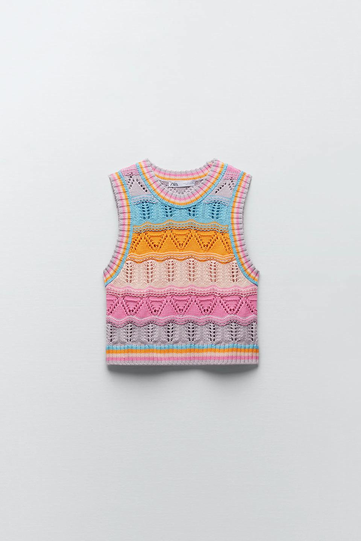 Top punto crochet multicolor