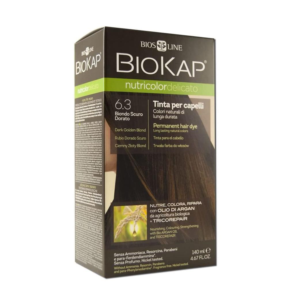 Tinte natural de pelo semipermanente 6.3 Rubio Oscuro Dorado de Biokap.
