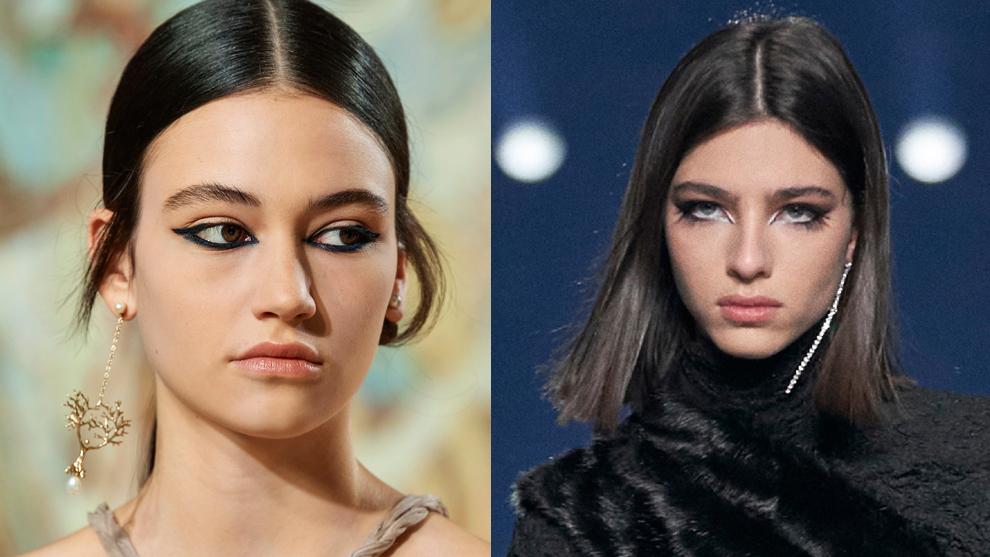 El eyeliner de Dior (izquierda) con trazo grueso en el párpado inferior y el de aires 60's del desfile de Givenchy con trazo blanco en la línea de agua combinado con el negro.