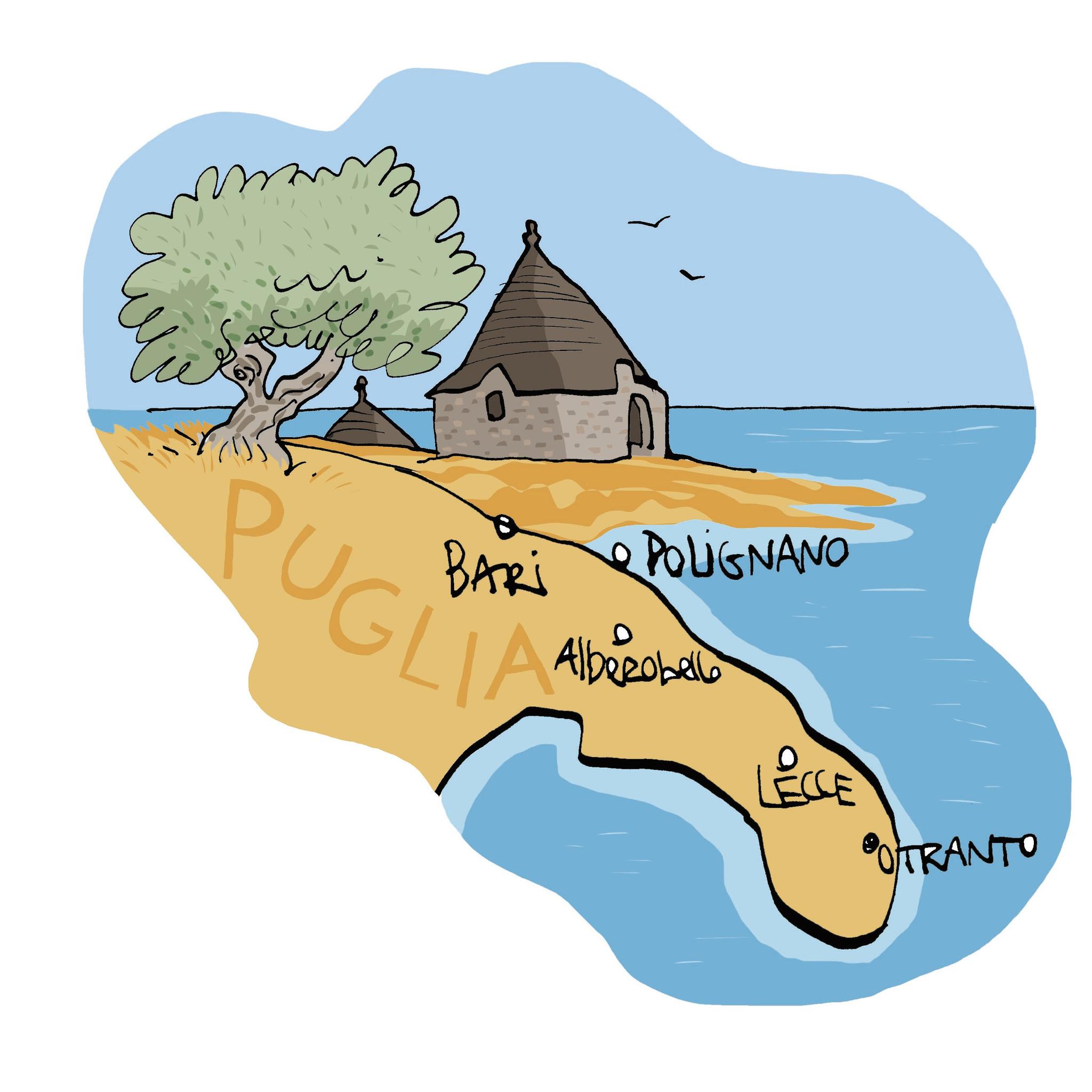 Mapa de Puglia.