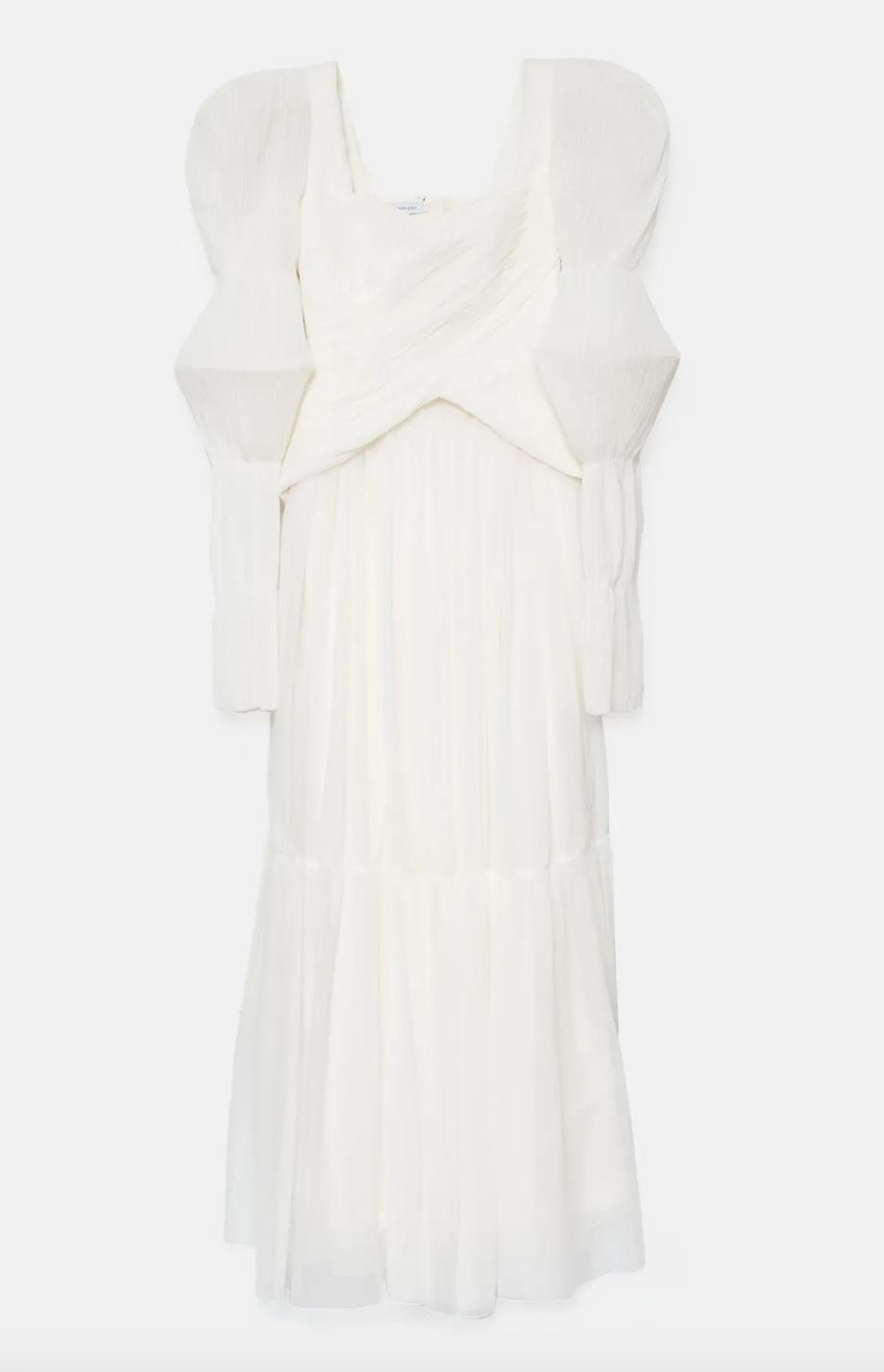 Vestido de chifón drapeado a mano