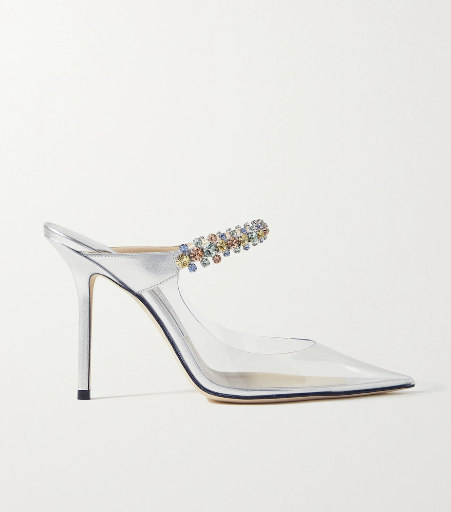Bing 100 crystal-embellished PVC and metallic leather mules de Jimmy Choo