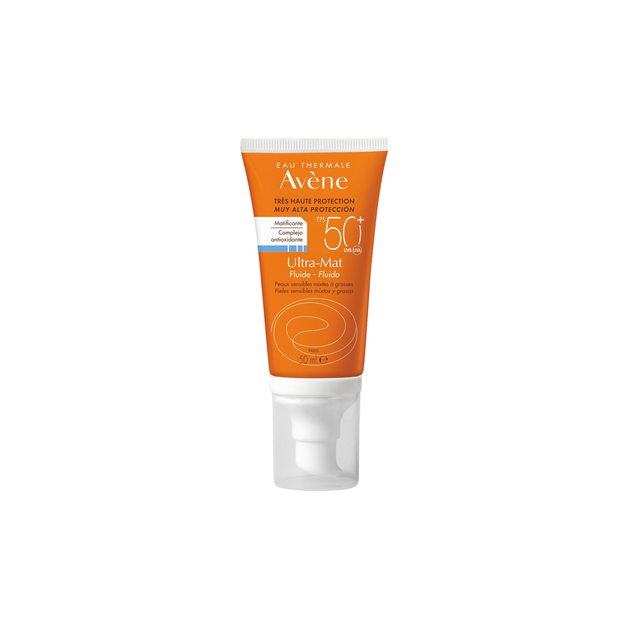 Con color. Ultra Mat Fluido SPF 50+, Avene. 18h de protección antioxidante, con vitamina C y textura ultra ligera con efecto anti-brillo 12h. 20,60 euros.