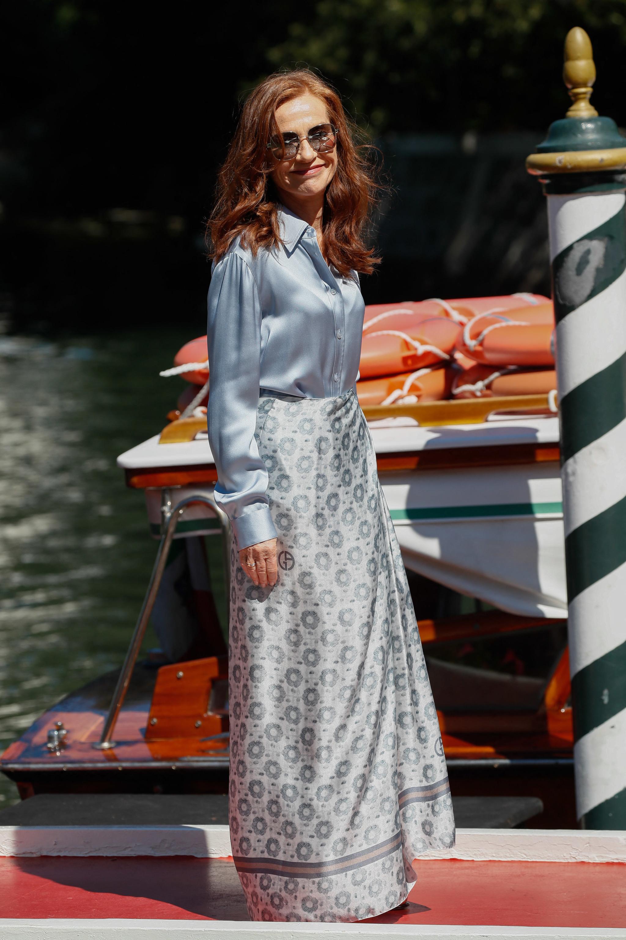 Isabelle Huppert a su llegada a Venecia.