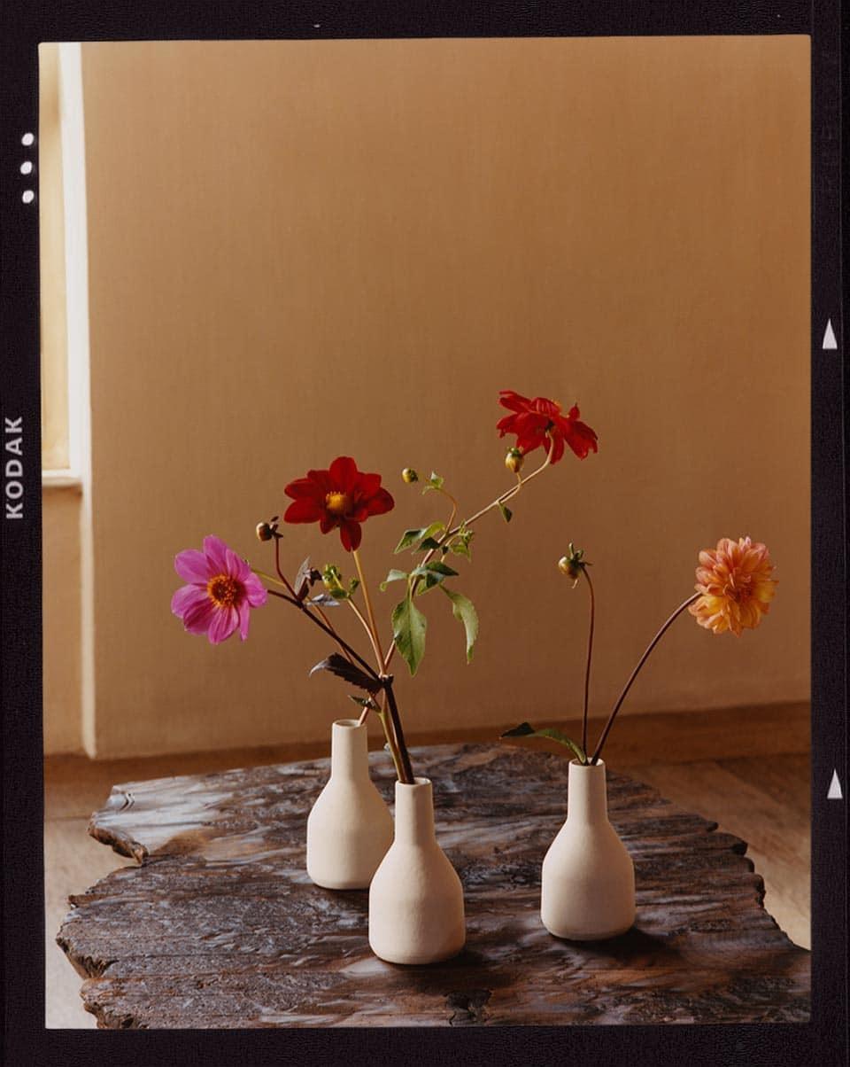 Un juego de tres jarrones de porcelana de diferentes colores transmite dinamismo en su conjunto.