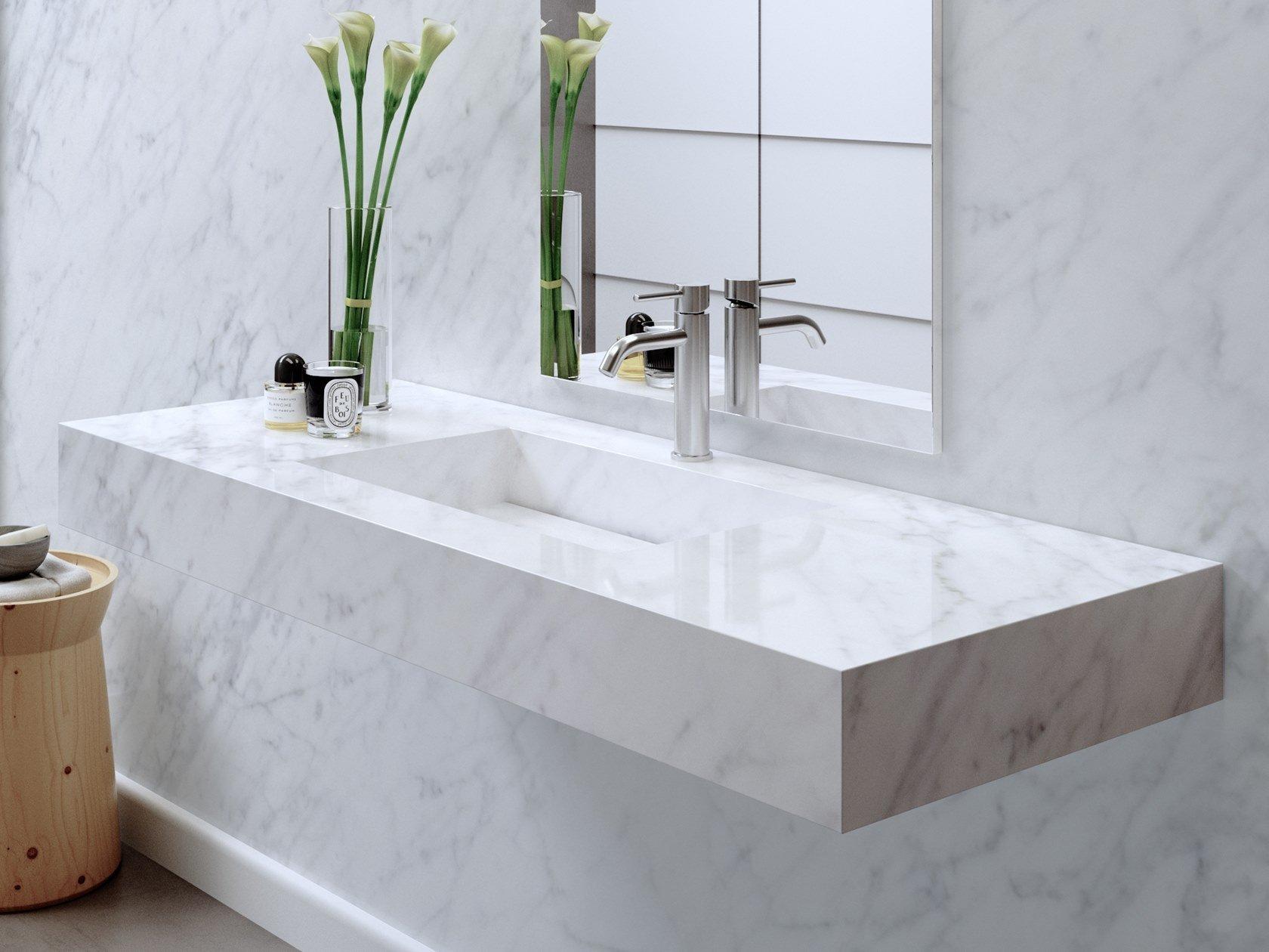 Lavabo y encimera de mármol de Carrara, Riluxa.