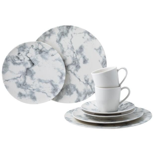 Set de desayuno en porcelana marmorizada. Villeroy & Boch.