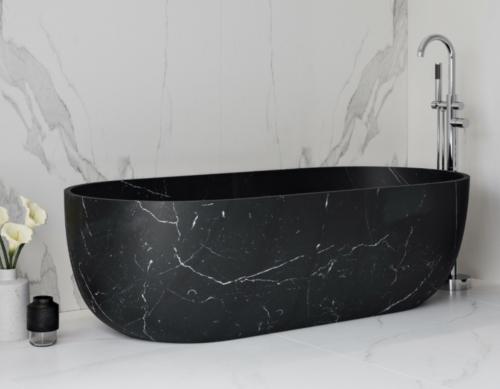 Bañera de una pieza en mármol negro, Canu.
