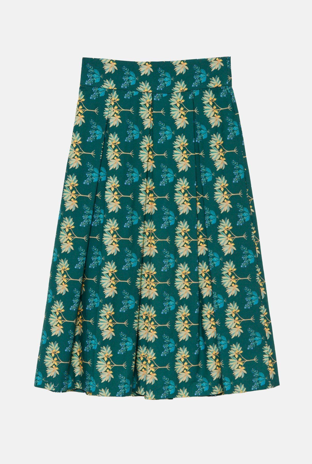 Falda midi verde estampada