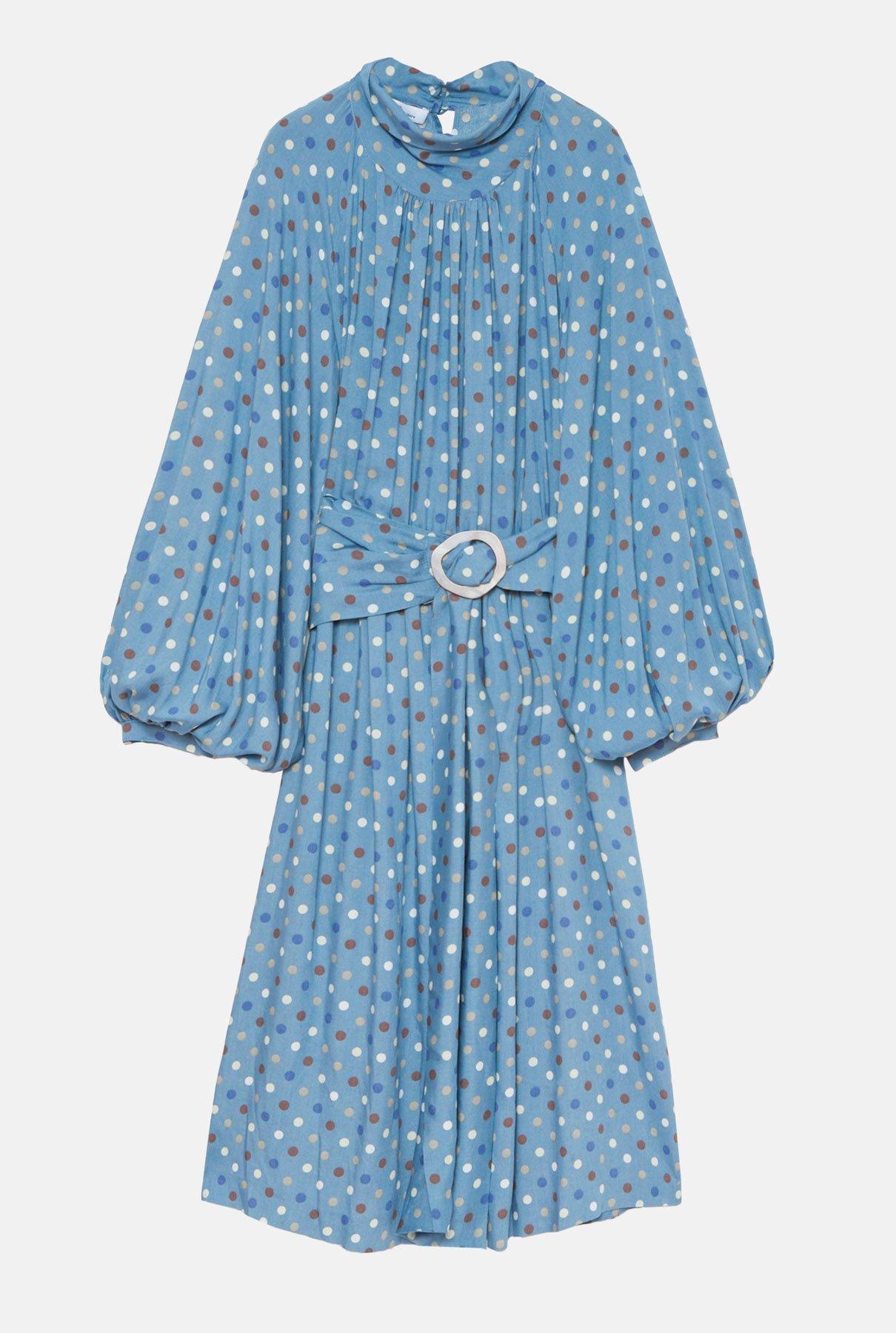 Vestido midi azul de lunares