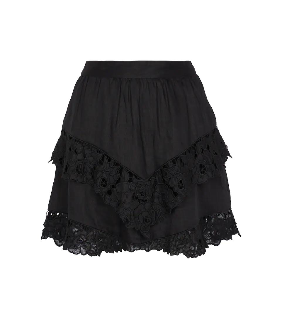 Minifalda Enali de lino con guipur de Isabel Marant