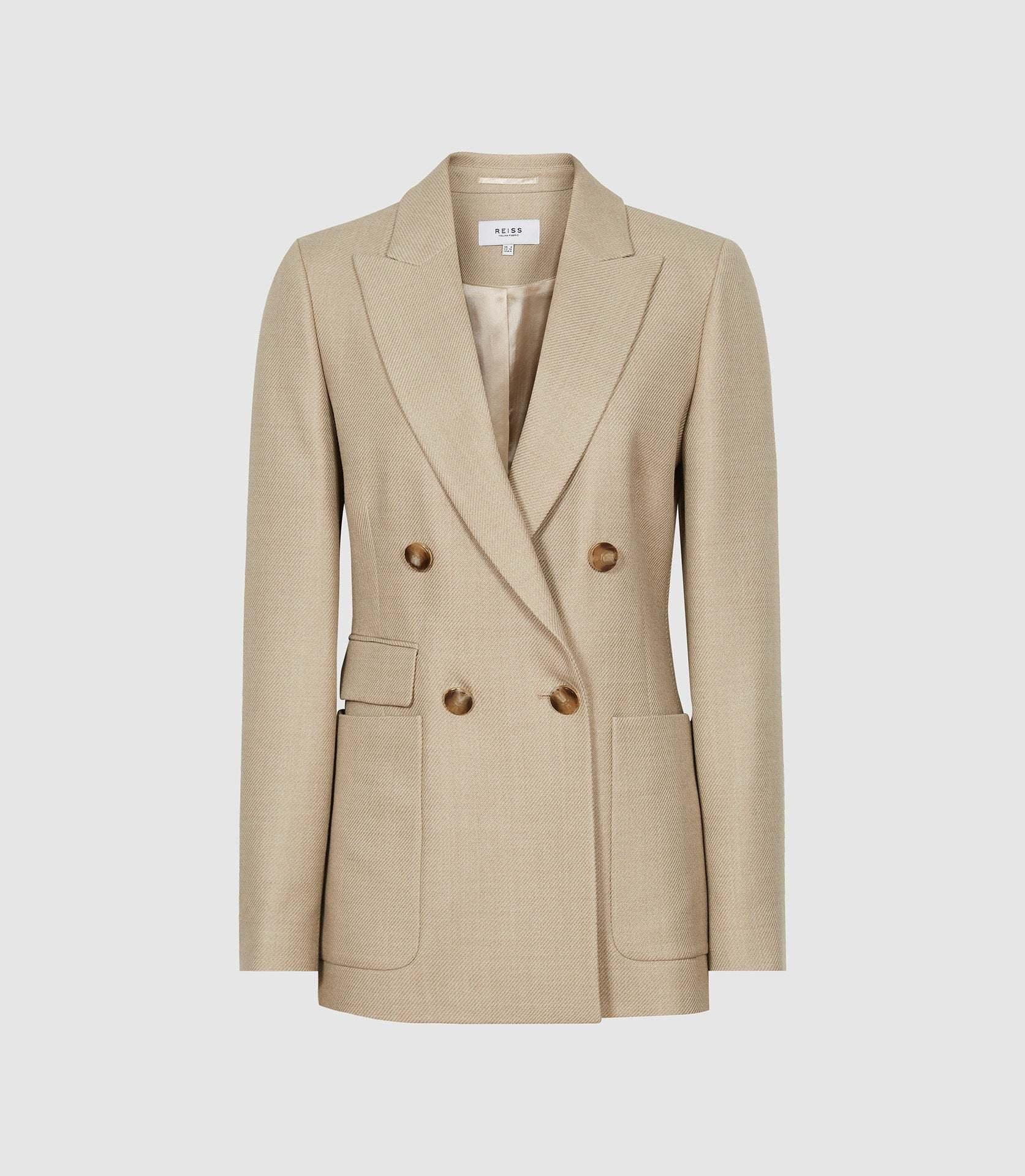 La auténtica de Kate Middleton: blazer cruzada Larsson de sarga, Reiss (285 euros).