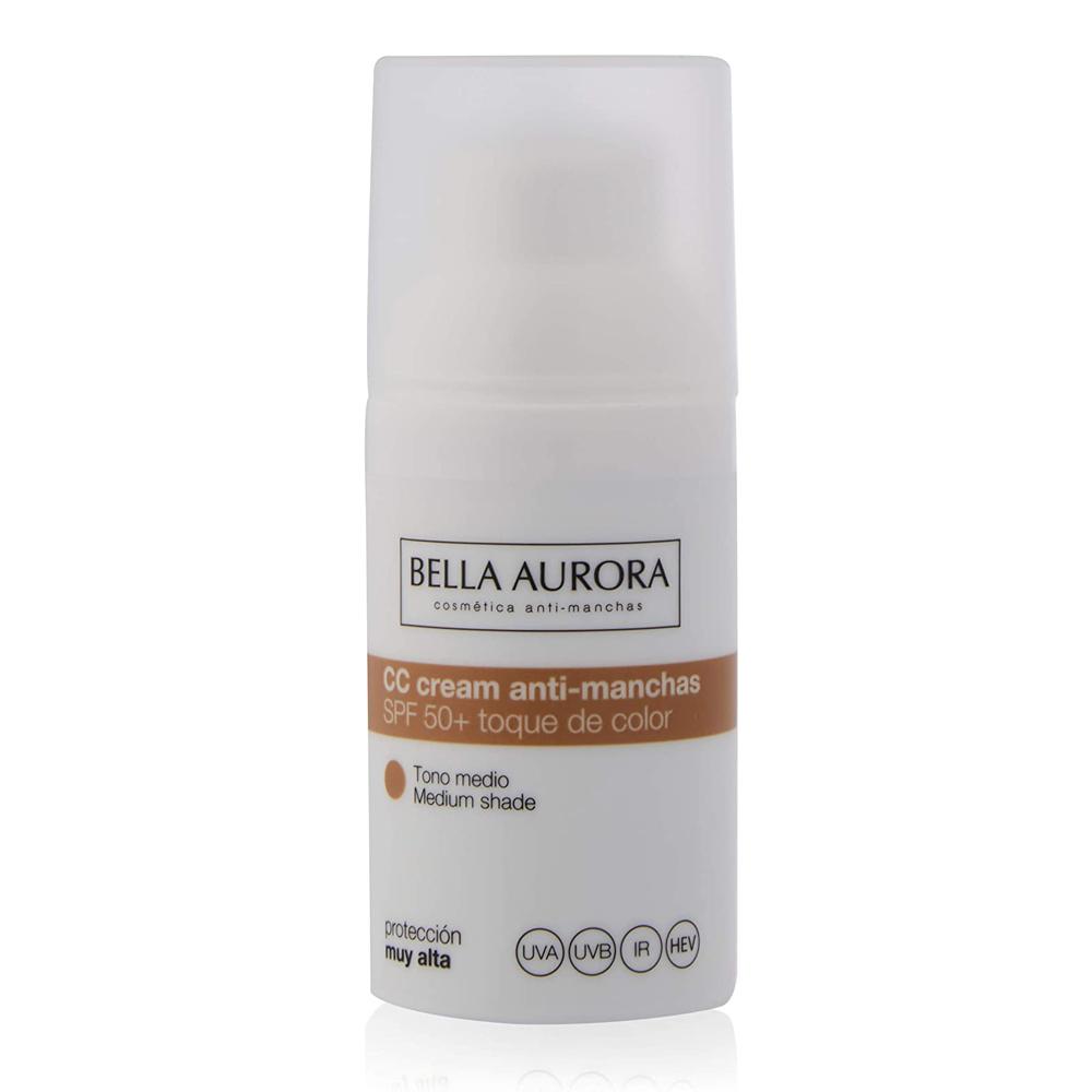 Crema con color CC Cream Protector Solar SPF 50+ antimanchas de Bella Aurora.