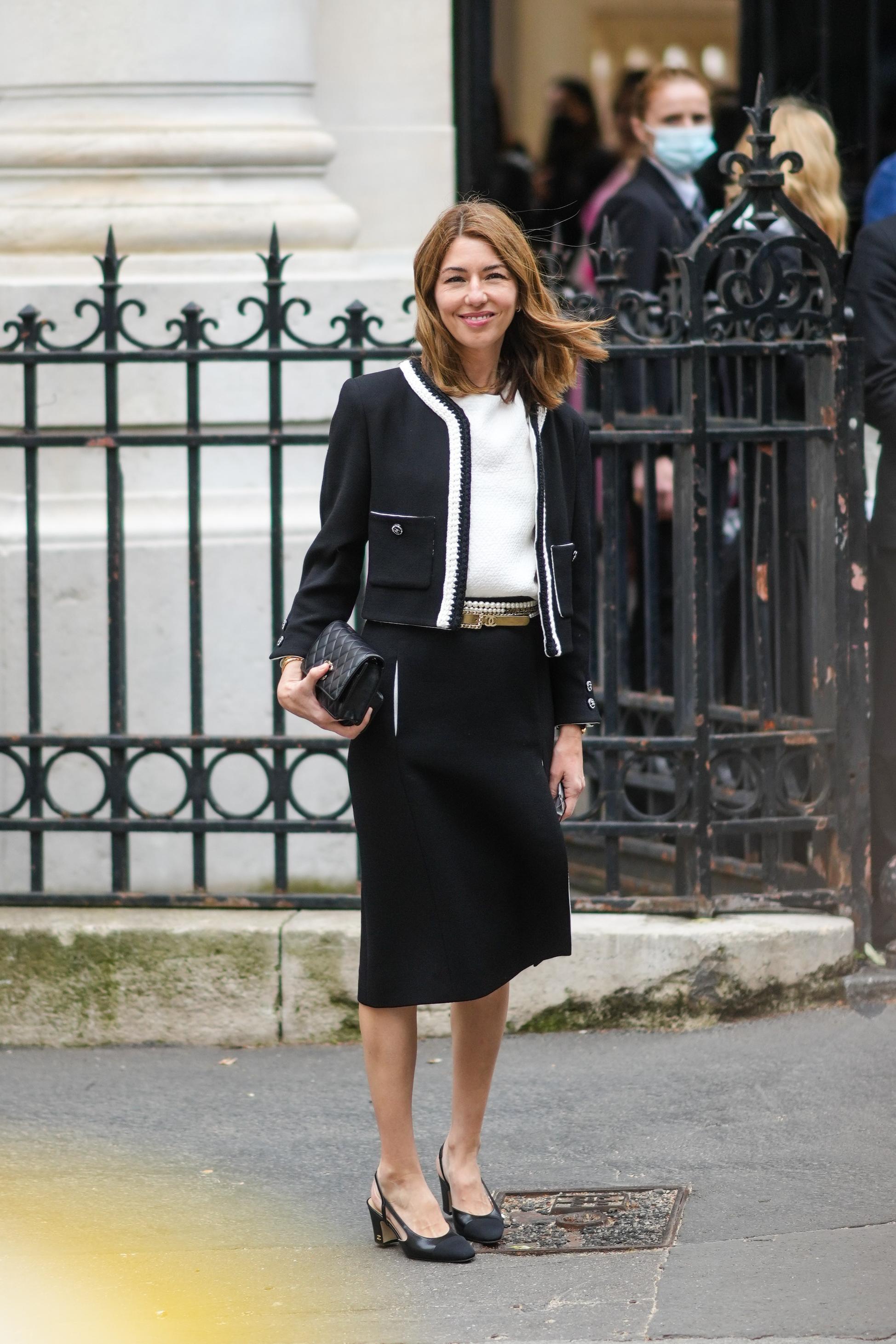 Sofía Coppola con chaqueta de tweed.