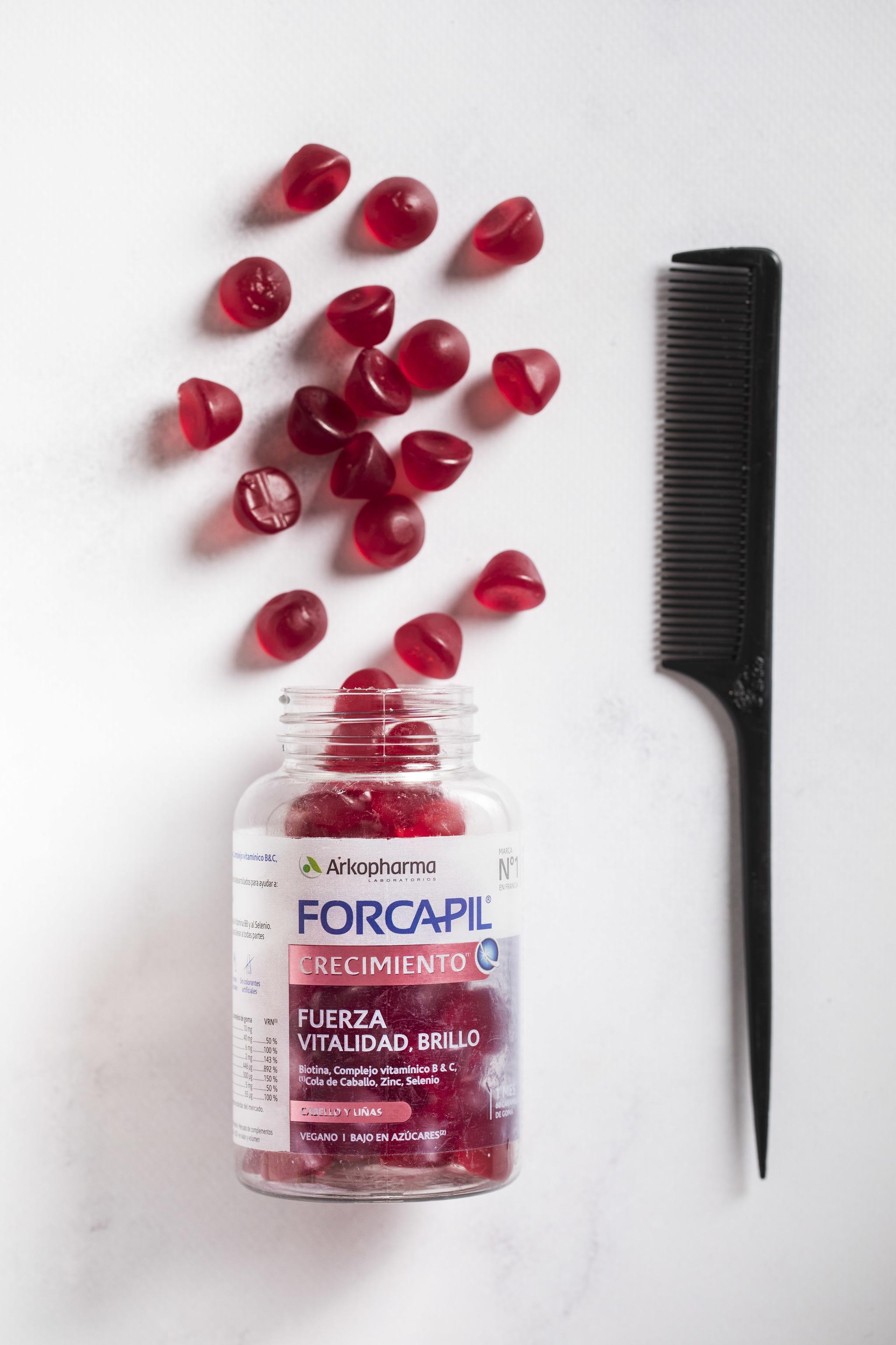 Gominolas Forcapil Crecimiento Gummies de Arkopharma para impulsar el crecimiento del cabello y darle a tu pelo ese extra de vitaminas, plantas y minerales.