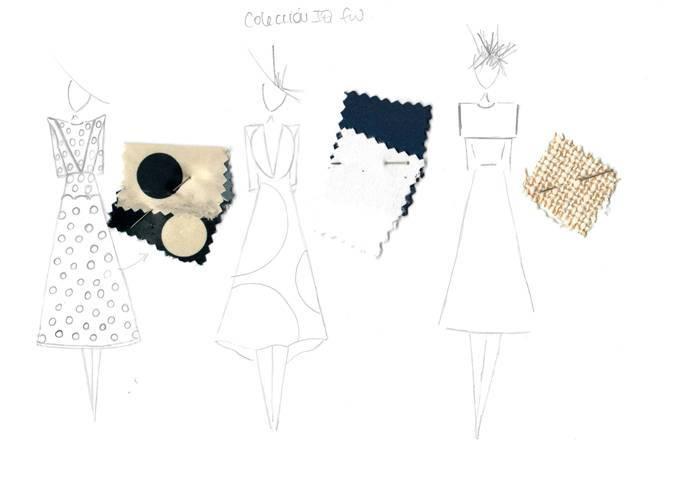 Boceto de los vestidos de The IQ Collection para la boda de Claudia Osborne.
