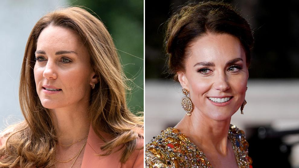 """A la izquierda, Kate Middleton con unas cejas excesivamente depiladas y finas en la cola de la ceja. Y a la derecha en el estreno de la nueva película de James Bond """"No time to die"""" estrenando cejas gruesas y peinadas hacia arriba."""