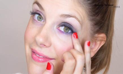 Maquillaje morado y aguamarina