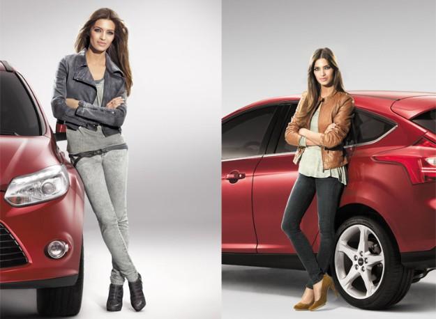 Sara Carbonero en dos de las fotos para la web con el Ford Focus