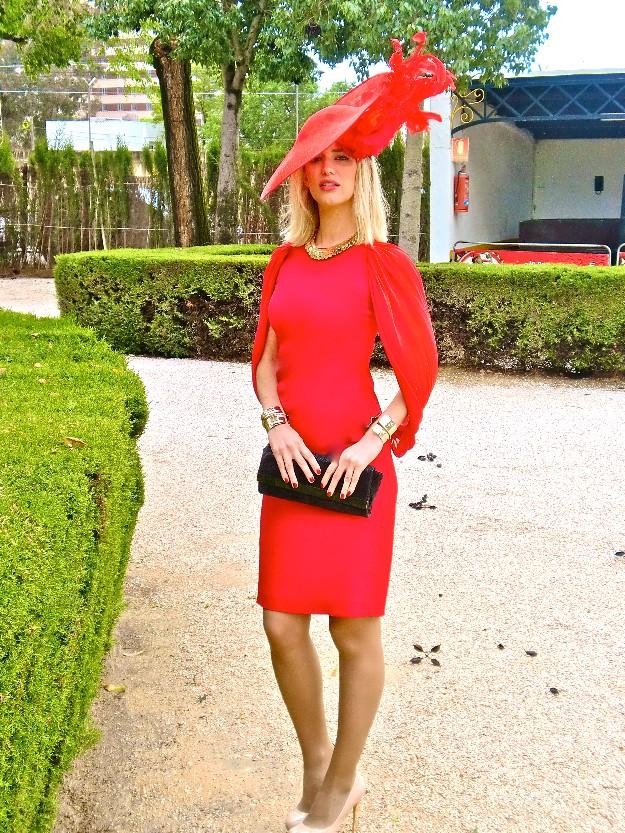 Vestido rojo boda de tarde