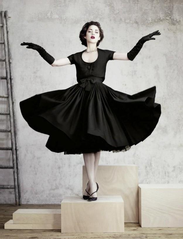 Tourbillon dress and bolero in black crepe wool, Haute Couture collection Fall-Winter 1957-1958.
