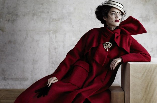 Arizona wool coat in cherry red. Haute couture Fall-Winter collection 1948-1949