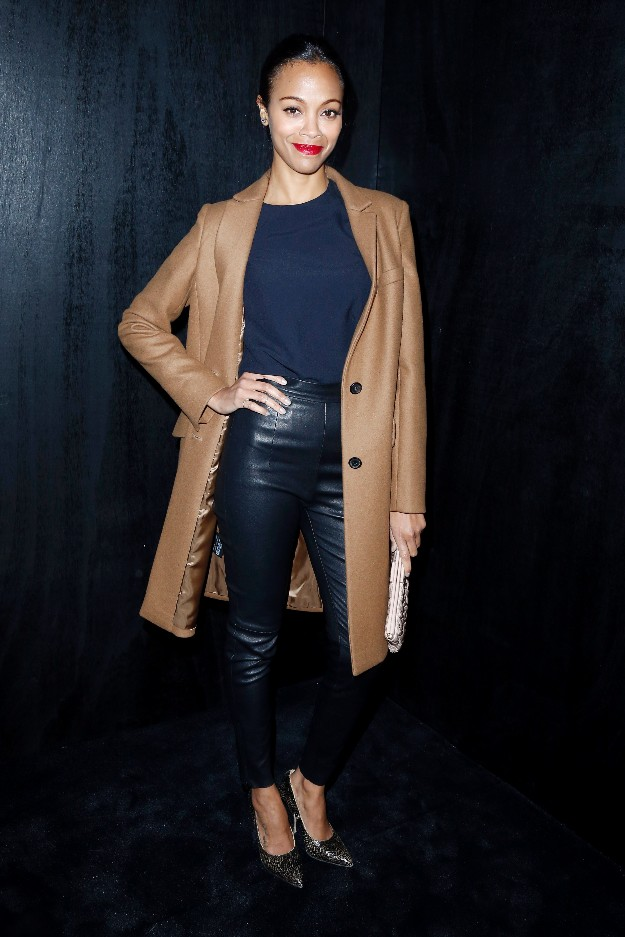 Zoe Saldana - Blue Leather - Paris Fashion Week