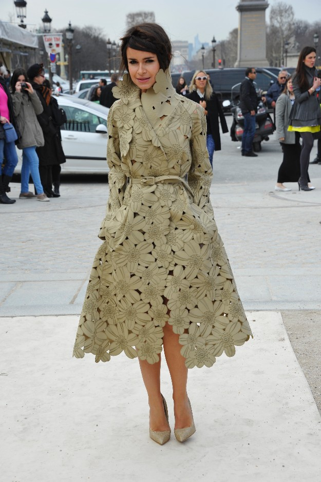 Miroslava Duma - flower trench - Paris Fashion Week