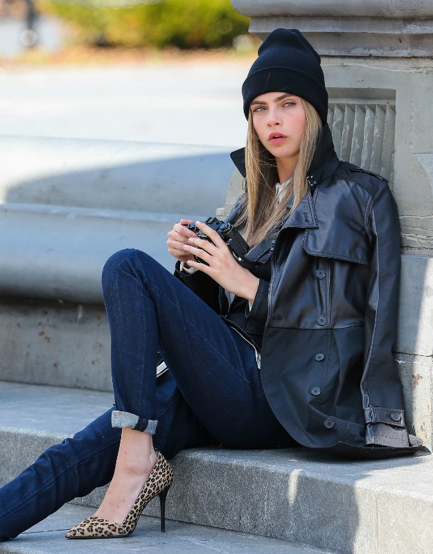 Cara delevingne - leather trench, capri pants & animal print shoes