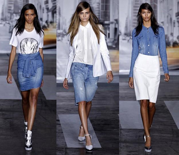 DKNY SS13 - white shirt & denim pants
