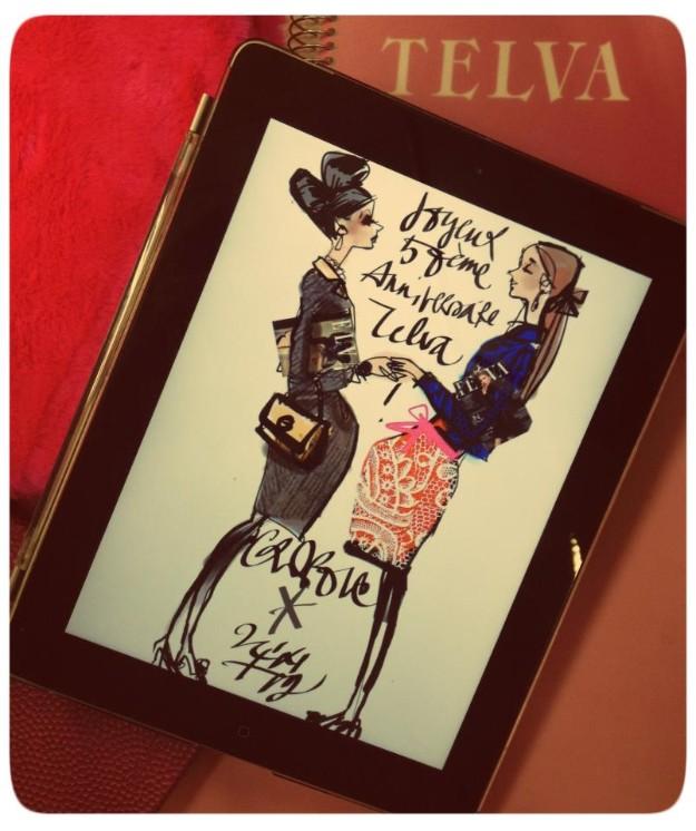 Ilustración de Christian Lacroix reinterpretando la primera portada de TELVA