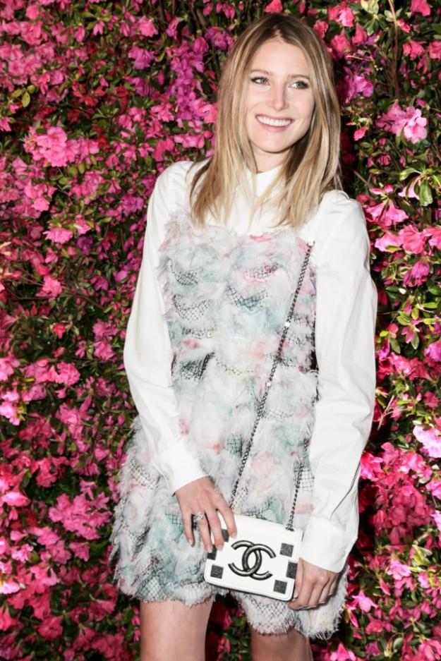 Dree Hemingway wearing a pastel chiffon dress from Cruise 2013.