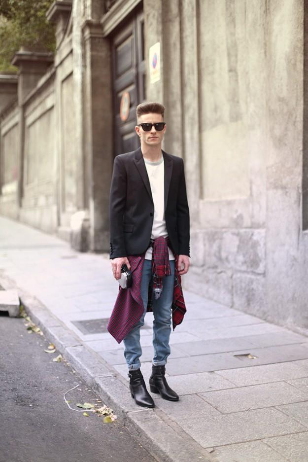 Prince Pelayo wearing Saint Laurent blazer and boots, davidelfin t-shirt, Uniqlo shirt & h&m jeans