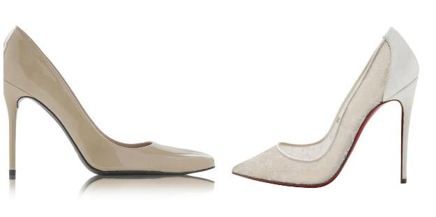 Zapatos Stuart Weitzman (Izqda) y de Christian Louboutin (Derecha)