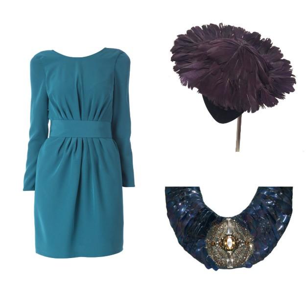 Vestido de David Christian, tocado de plumas de Mimoki y collar de Miguel Palacio para Virvin