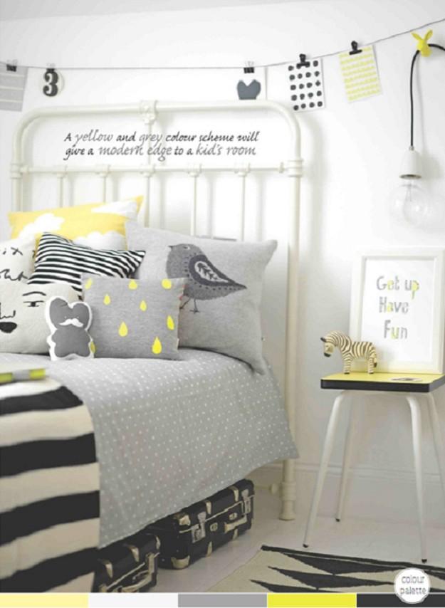 habitacion en tonos grises y amarillo