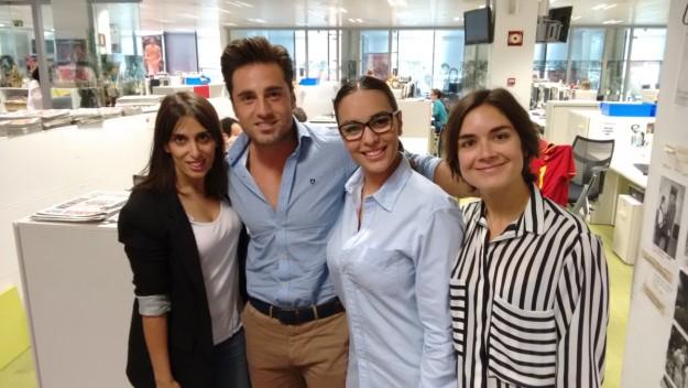 David Bustamante junto a Miriam Mascareñas, Tanya García y Clara Sánchez, de TELVA