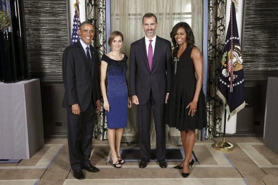 Los Reyes de España, el Presidente de EEUU, Obama, y su mujer Michelle.