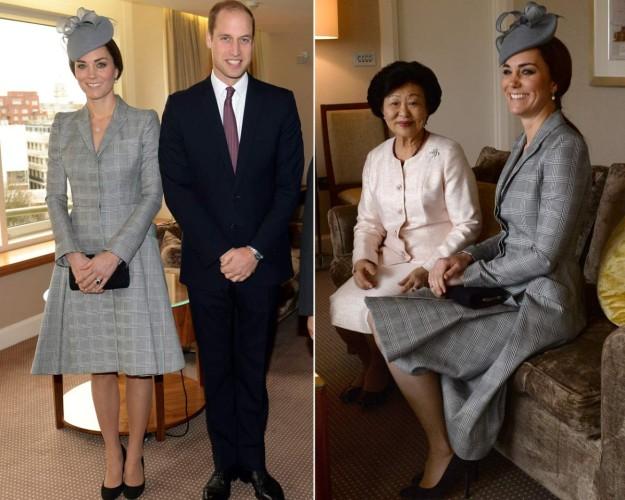 Kate Middleton junto al Príncipe Guillermo y junto a la primera dama de Singapur, Mary Tan.