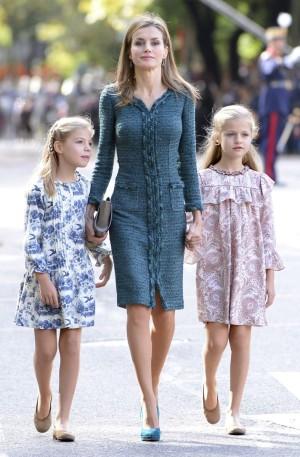 La Princesa de Asturias junto a la Reina Letizia y la Infanta Sofía en el desfile militar por el Día de la Hispanidad.