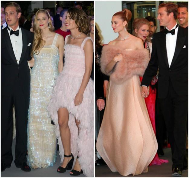 A la izquierda, en el Baile de la Rosa de 2013 con un look inspirado en el Gran Gatsby. A la derecha con un outfit en melocotón y estola rosa palo, en el Baile de la Rosa de 2014 firmado por Giorgio Armani Privé.
