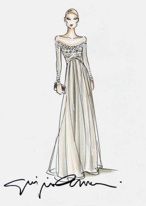 Boceto del vestido que Giorgio Armani Privé diseñó para Beatrice Borromeo.