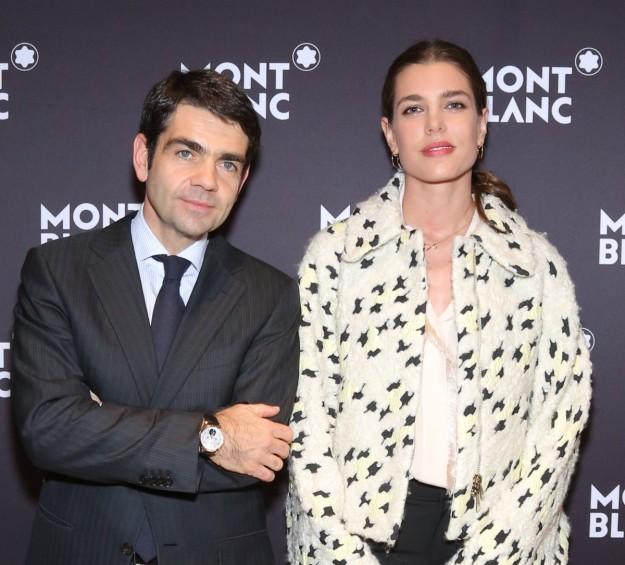 Carlota Casiraghi y el director ejecutivo de Montblanc, Jérôme Lambert.