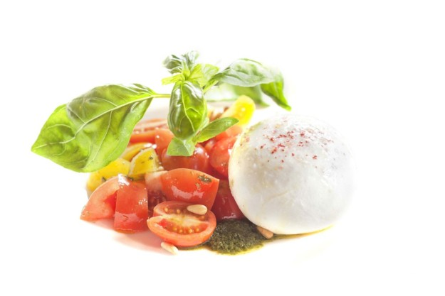 Ensalada de burrata, tomates cherry y albahaca del restaurante de OPIUM Madrid.