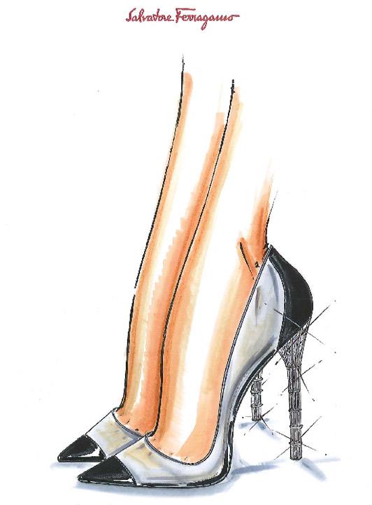 Uno de nuestros favoritos es el diseño de Salvatore Ferragamo, con su icónico tacón de jaula