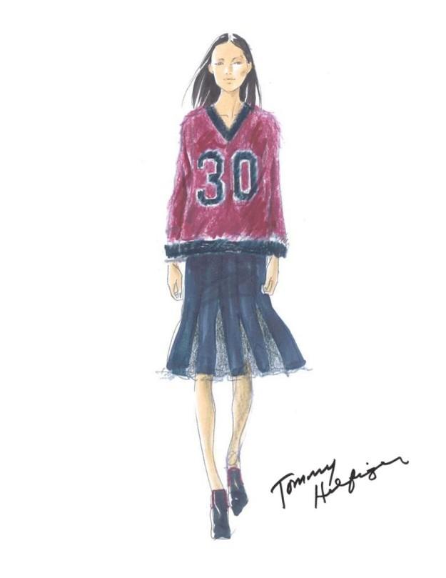 Boceto de la colección otoño-invierno 2015/2016 de Tommy Hilfiger.