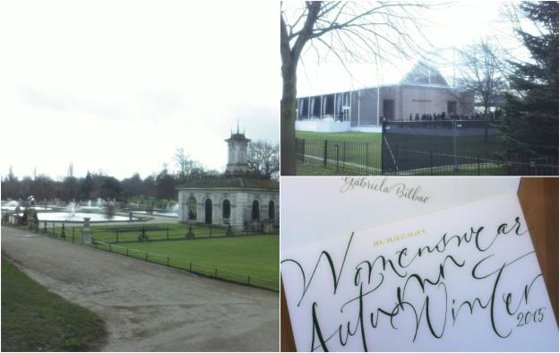 Los Kensington Gardens, la carpa instalada para el desfile y la invitación a nombre de Gabriela Bilbao, estilista de TELVA.