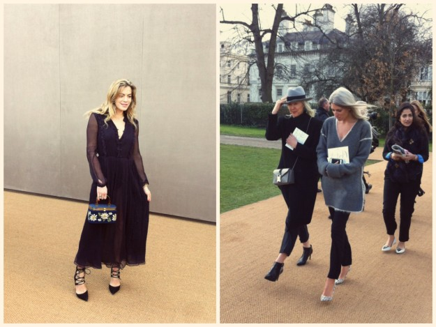 La dj Chelsea Leyland y la editora de moda Sarah Harris llegando al desfile de Burberry Prorsum con una compañera.