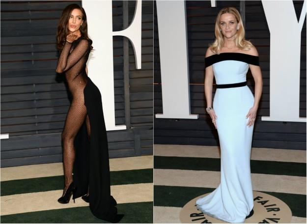 Irina Shayk, de Atelier Versace, y Reese Whiterspoon, de Tom Ford.